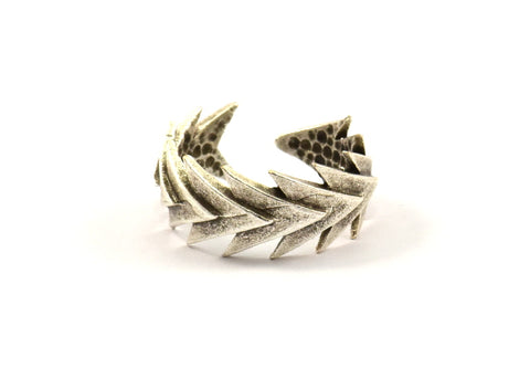 Chevron Ring, 2 Antique Silver Plated Adjustable Chevron Ring Settings - N076 H215