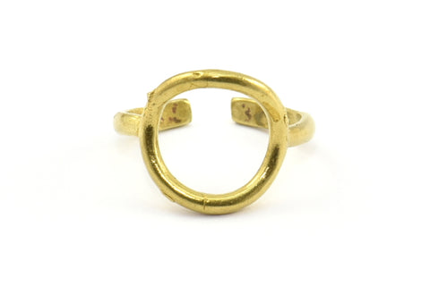 Adjustable Circle Ring, 10 Raw Brass Adjustable Circle Rings - (12.5mm) Mn14