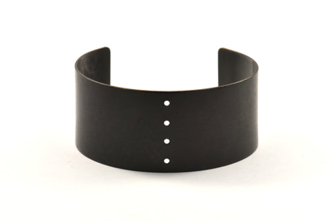 190mm Brass Cuff, 1 Oxidized Brass Black Cuff With 4 Holes (35x190x1mm) T112