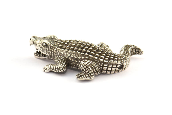 Antique Silver Crocodile Charm, 1 Antique Silver Plated Crocodiles, Bracelet and Necklace Beads (35x18mm) N276 H348