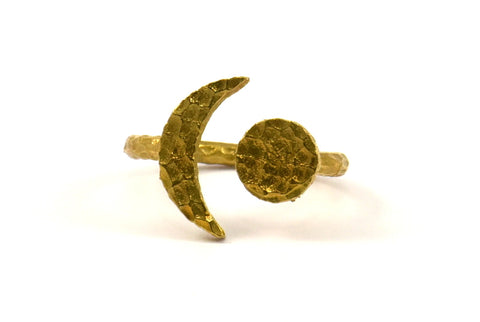 Hammered Universe Cosmos Ring, 3 Hammered Raw Brass Moon And Planet Rings N129