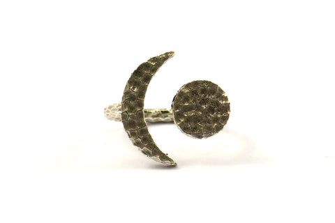Hammered Universe Cosmos Ring, 2 Hammered Antique Silver Plated Moon And Planet Rings N130 H213