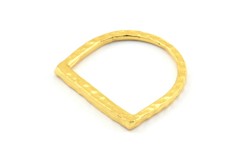 D Shape Rings, 3 Gold Plated Brass D Shape Connectors, Rings (19x20x2mm) BS 1889 Q458