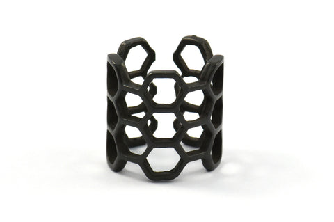 Black Honeycomb Ring, 1 Oxidized Brass Black Adjustable Honeycomb Rings N014 S195