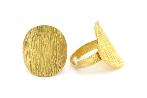 Brass Ethnic Ring, 1 Raw Brass Textured Adjustable Ethnic Rings E251