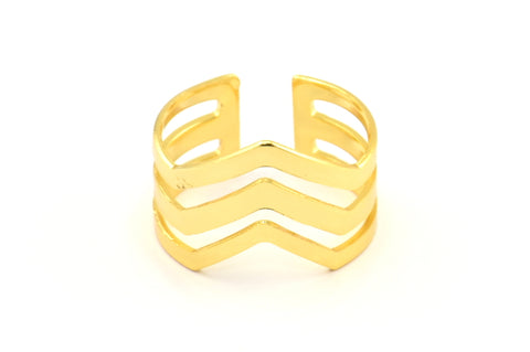 Copper Bohemian Ring, 4 Gold Plated Copper Chevron Adjustable Ring Settings (16-17mm)  23 Gauge Mn87 Q463