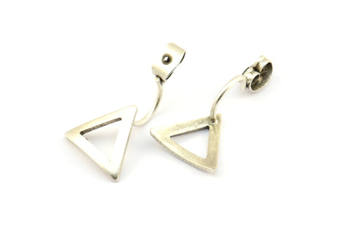 Antique Silver Back Stoppers, 4 Antique Silver Plated Brass Triangle Earring Studs Back Stoppers (23x13mm) E364 Q690