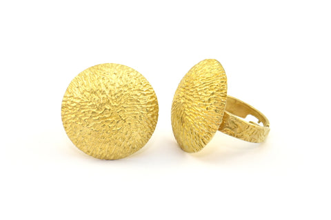 Brass Round Ring, 2 Raw Brass Textured Adjustable Round Rings E260