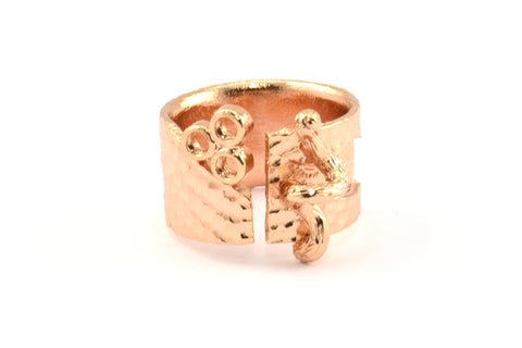 Rose Gold Ethnic Ring, 1 Rose Gold Plated Brass Ring Settings N156 Q392