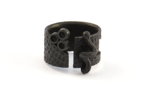 Black Ethnic Ring, 1 Oxidized Brass Black Ring Settings N156 S357