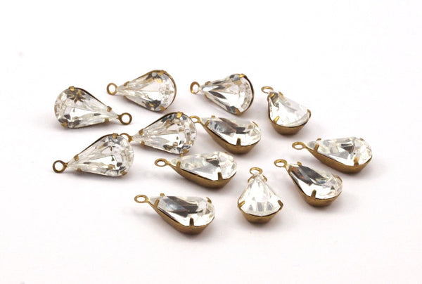 5 Swarovski Crystal Drop with Raw Brass Prong Setting 13x8 mm Y255