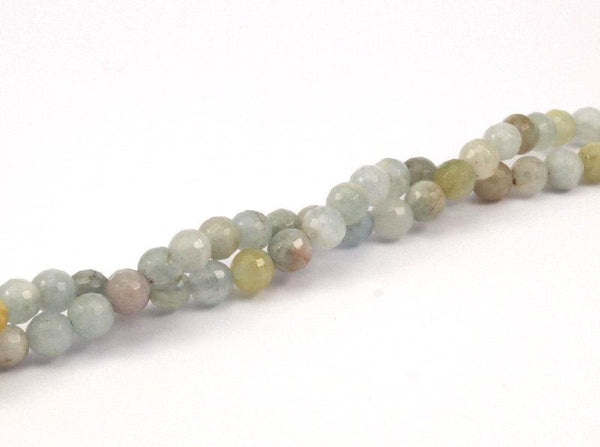 Aquamarine 6mm Faceted Round Gemstone Beads 15.5 inches Full Strand T007