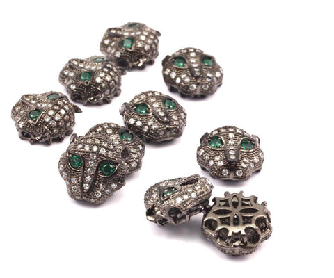 1 pcs Gunmetal Leopard Head Beads, CZ Micro Pave Bead 11mm L02