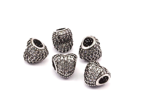 1 Silver Tone Brass Heart Beads, CZ Micro Pave Beads (12x11.50mm) Hole Size 5mm   wpdl065 L03