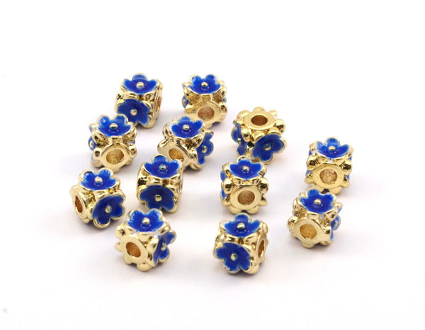 Enamel Brass Bead, 2 Brass Flower Enamel Beads (6mm)  R075