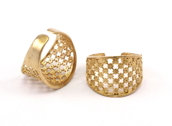 5 Raw Brass Adjustable Rings N017
