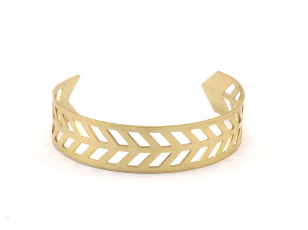 Chevron Cuff Blank - Raw Brass Chevron Cuff Bracelet Blank Bangles Without Holes (15x145x0.80mm) T104