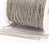 Silver Brass Chain, 1 Meter - 3.3 Feet (1.5mm) Silver Tone Brass Faceted Ball Chain - W71