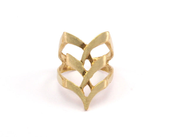 3 Raw Brass Adjustable Rings N031