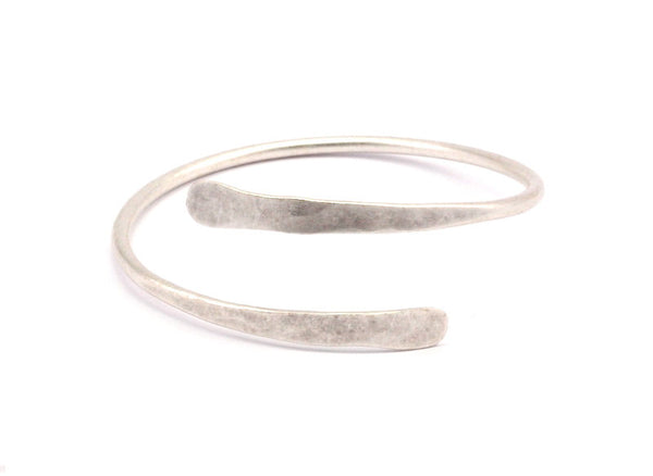 Hand Hammered Cuff - 2 Antique Silver Plated Hand Hammered Cuff Bracelet Bangles (67x3mm) T117
