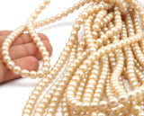 Vintage  Glass Pearl Beads , 8mm 17 inch. 1 Strand