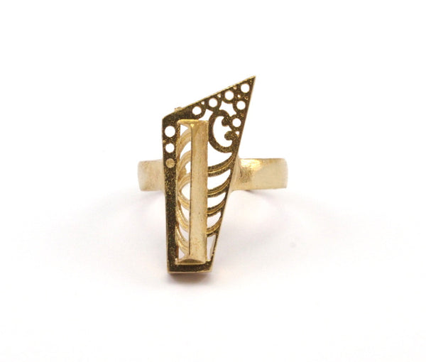 5 Raw Brass Adjustable Rings N057