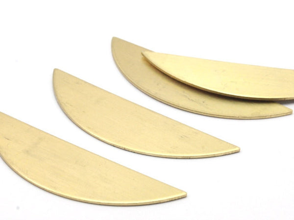 Semi Circle Blank, 6 Raw Brass Semi Circle Blanks withhout Holes (51x15x0.80) A0728