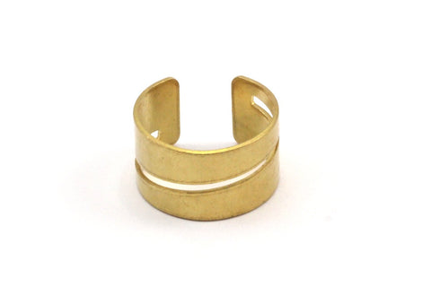 Adjustable Striped Ring - 10 Raw Brass Adjustable Ring Settings (16x17mm / 23 Gauge) MN18