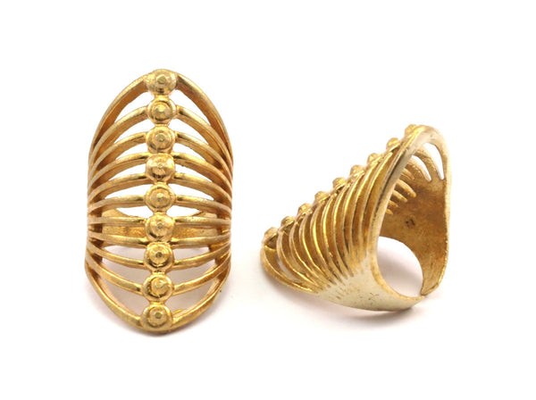 Brass Cage Ring - 2 Raw Brass Adjustable Cage Rings N015