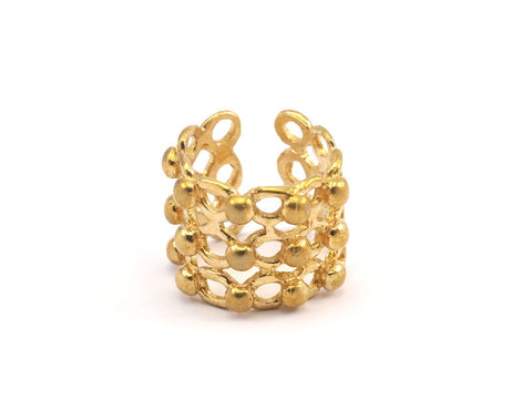 3 Raw Brass Adjustable Rings N018