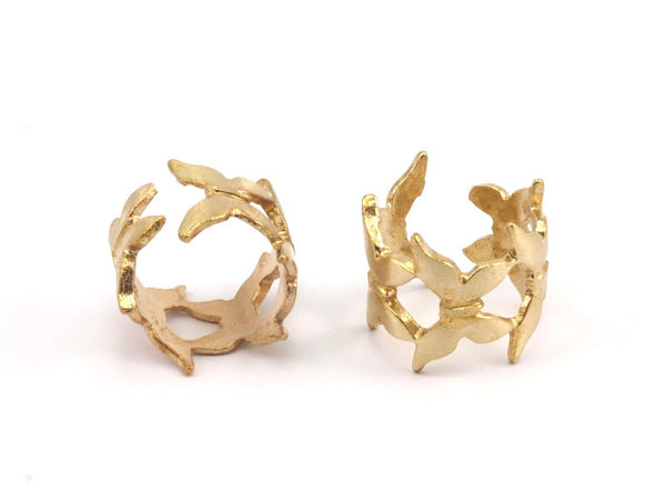 Brass Butterfly Ring - 2 Raw Brass Adjustable Butterfly Rings N028