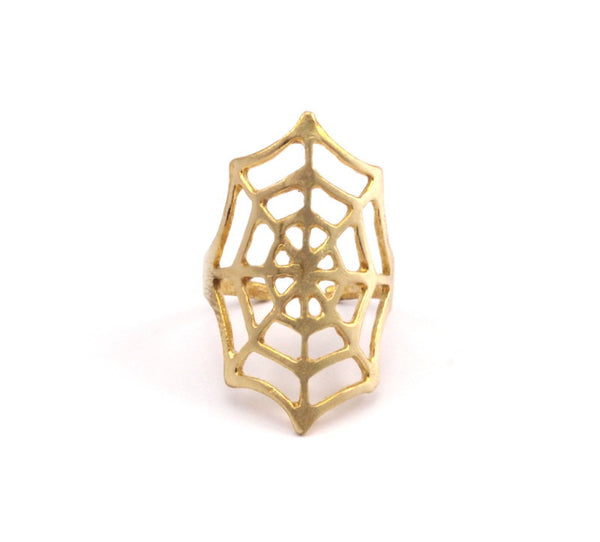 Spider Web Ring - 3 Raw Brass Adjustable Spider Web Rings N033