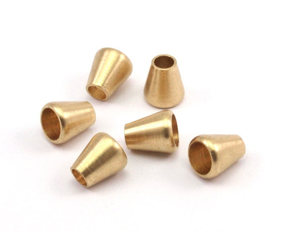 12  Raw Brass Industrial Cone End Caps, Findings, (9x8x6mm)  A0733