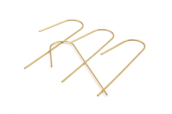 Brass Earring Wires, 12 Raw Brass Earring Wires (60x0.75mm) D145