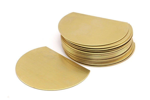Raw Brass Blank, 4 Raw Brass Semi Circle Blanks  (75x57x0.80) N462