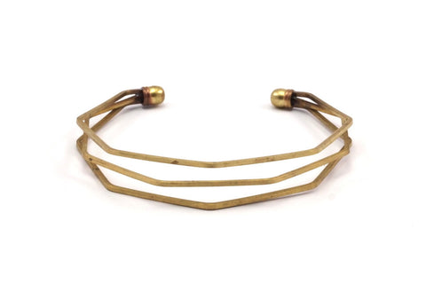 Bohemian Wavy Cuff, 2 Raw Brass Triple Wire Bracelets With Waves And Ball Ending Brc239