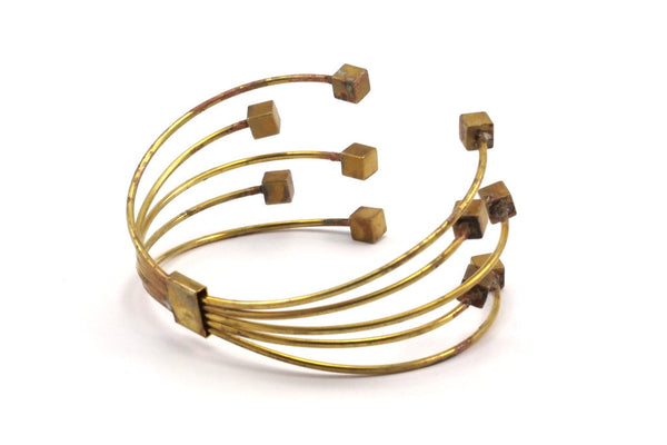 Bohemian Brass Bracelet, 2 Raw Brass Multiple Wire Bracelets with Square Endings BRC247