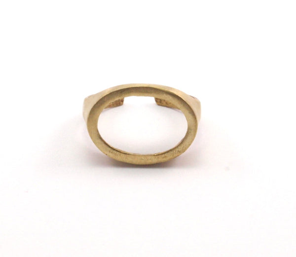 Brass Oval Ring - 5 Raw Brass Adjustable Oval Rings N053