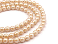Vintage  Glass Pearl Beads , 10mm 17 inch. 1 Strand