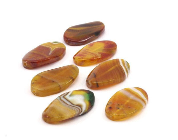 Agate ( 46x22mm) Oval  Gemstone Beads , 2 Pcs T05