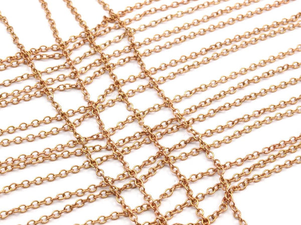Copper Tiny Chain, Raw Copper Tiny Oval Chain (2.40x1.8mm) MB 8-38