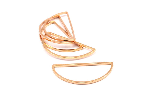 Rose Gold Half Moon - 5 Brass Rose Gold Plated Semi Circle Connectors (15x30x1mm) D011