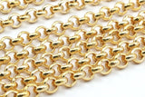 Gold Plated Chain, Rolo Chain, 3.3 Feet Gold Plated Brass Chain ( 6mm ) Z054