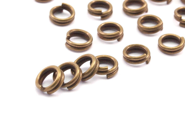 Antique Bronze Jump Ring,  250 Antique Bronze Brass Double Jump Rings , Split Rings  (5x.080mm) A0388