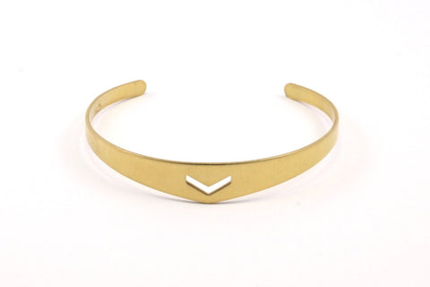 2 Raw Brass Cuff Bracelet Blank Bangle With Chevron Without Holes (4to10mm)  BRC013