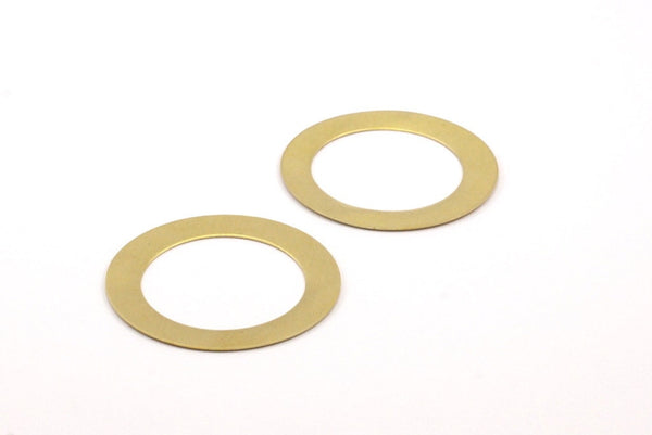 Brass Circle Connector - 16 Raw Brass Circle Connector Blanks (40x4x0.50mm) A0795