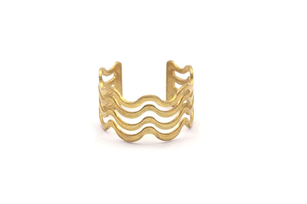 Brass Wavy Ring -10 Raw Brass Adjustable Wavy Ring Settings - 16-17mm / 23 Gauge Mn27