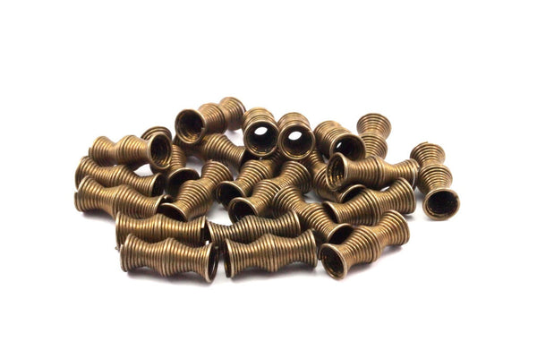 30 Pcs 13x5 Mm Antique Bronze Tone Metal Wire Tube Spacer Bead Sb-09 K147