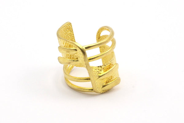 Brass Adjustable Ring - 2 Raw Brass Adjustable Rings N04