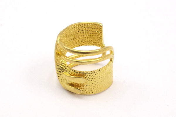 4 Raw Brass Adjustable Rings N004